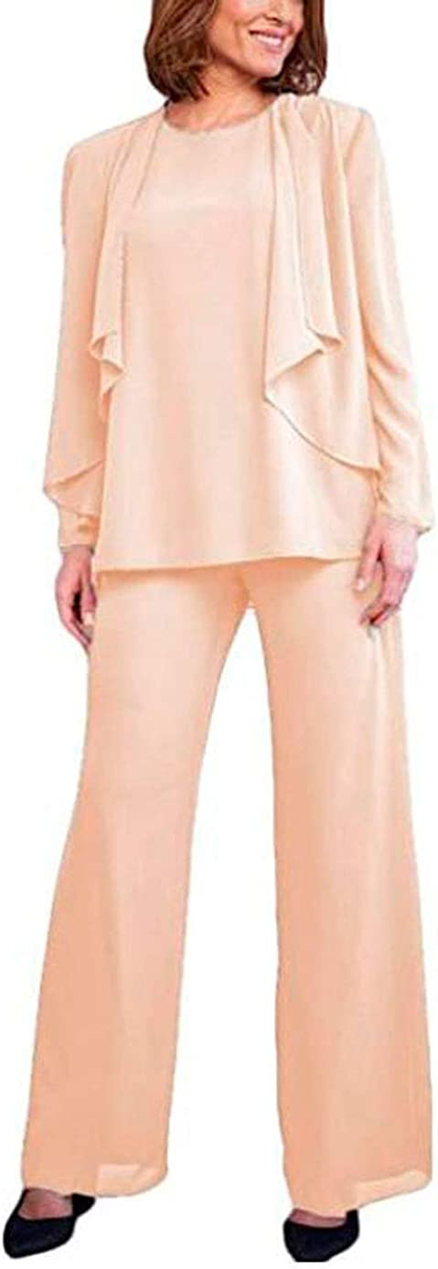 Chiffon Mother of The Bride Pants Suit with Jacket 3 PC Women Outfits Guest Dress Formal Evening Pants Set
