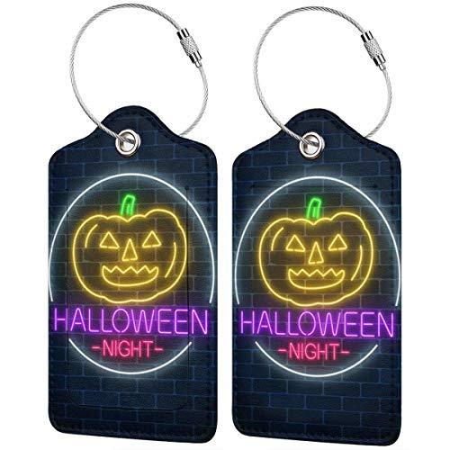 Dataqe Gepäckanhänger aus Leder für Sichtschutz, 7 x 12 cm, leuchtendes Neon-Zeichen von Halloween-Einladungsbanner. Gr. 4 Stücke, Schwarz