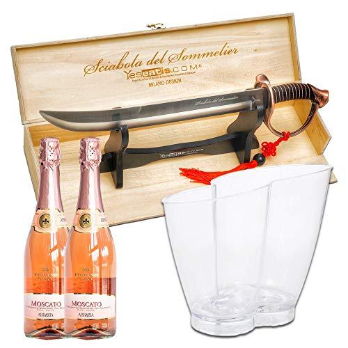 YesEatIs - Spumantiera per 2 Bottiglie con Sciabola del Sommelier e 2 Bottiglie di Spumante Extra Dry - Modello Infinito (Moscato rosé)