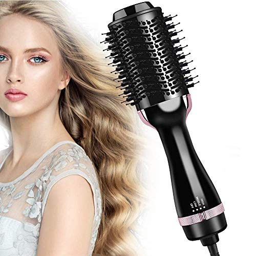 Hair Dryer Brush, Hair Dryer and Styler Volumizer in One, 4 in 1 Hot Air Brush Styler and Dryer with Negative Ionic, Blow Dryer Brush with Comb for Fast Drying, Straightening, Curling, Rotating