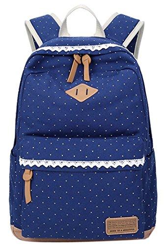 5 ALL Fashion Mädchen Schulrucksack Damen Canvas Rucksack Teenager Baumwollstoff Schultasche Outdoor Freizeit Daypacks mit Schicker Lace QXT-6066 (Dunkel Blau)