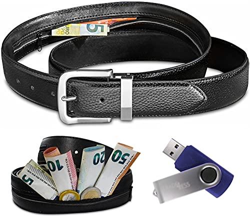 Eaxus® Tresorgürtel für Damen & Herren - Geldgürtel mit Reißverschluss und Geheimfach 135 cm Leder, Schwarz