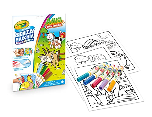CRAYOLA – Color Wonder, kleurenset met 18 pagina's om in te kleuren en 5 stiften zonder vlekken, motief boerderij…