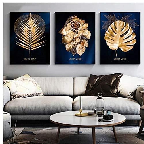 Yxjj1 Planta dorada abstracta Dejar pintura en lienzo Carteles e impresiones modernos Cuadro de arte de pared para decoración de sala de estar -20x28 IN Sin marcox3 piezas
