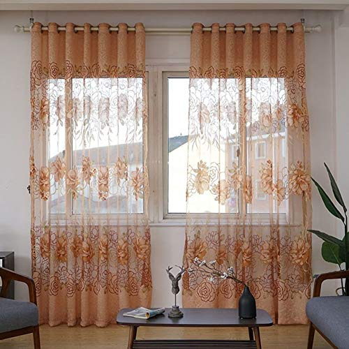 Nileco verbrande bloemen slierten gordijnen, half black-out gordijn tule raam drapiert voor woonkamer slaapkamer eenvoudige black-out Valance 1 Pc koffie kleur W350 * h270 cm (138 * 106inch)