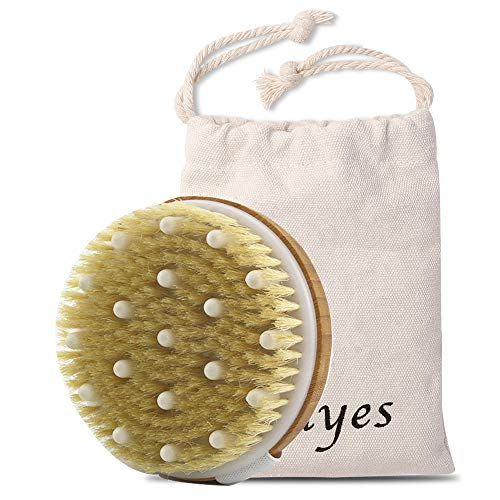Ithyes Dry Brushing Body Brush Exfoliating Brush Natural Bristle bath Brush for Remove Dead Skin...