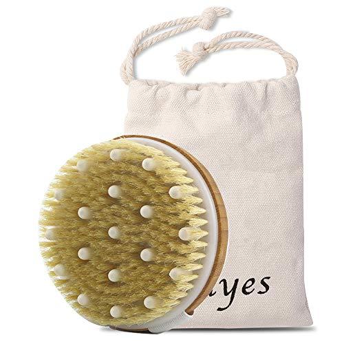Ithyes Trockenbürste, Körperbürste, Peelingbürste, natürliche Borsten, Badebürste zum Entfernen abgestorbener Haut, Cellulite, verbessert Lymphfunktionen, Peeling