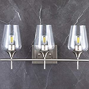 CO-Z 3-Light Vanity Lights for Bathroom Brushed Nickel, Modern Bathroom Lighting Fixture Over Mirror Wall Lamp with Clear Glass Shade, Contemporary Wall Sconce for Bathroom, Makeup Dressing Table