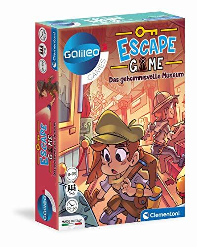 Clementoni 59227 Escape Game – Das geheimnisvolle Museum, spannendes Gesellschaftsspiel zum Knobeln & Rätseln, inkl. Hinweiskarten und Requisiten, Familienspiel ab 8 Jahren