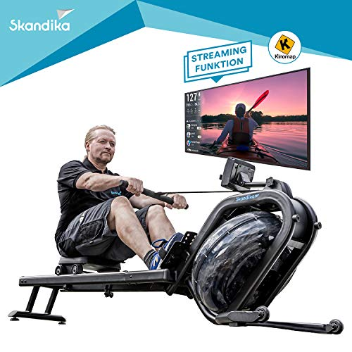 skandika Wasser Rudergerät Nemo IV, Water Ruderzugmaschine mit regulierbaren Wasserwiderstand, Double-Slide-Konstruktion | Rower mit Multi-Funktionen Computer + Tablet-Halterung