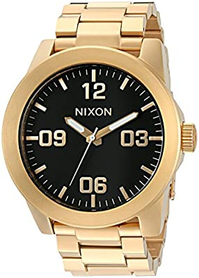 Nixon Corporal SS A346510-00. Gold Stainless Steel Men's Watch (48mm Gold and Black Watch Face. 24mm All Gold Steel Band)