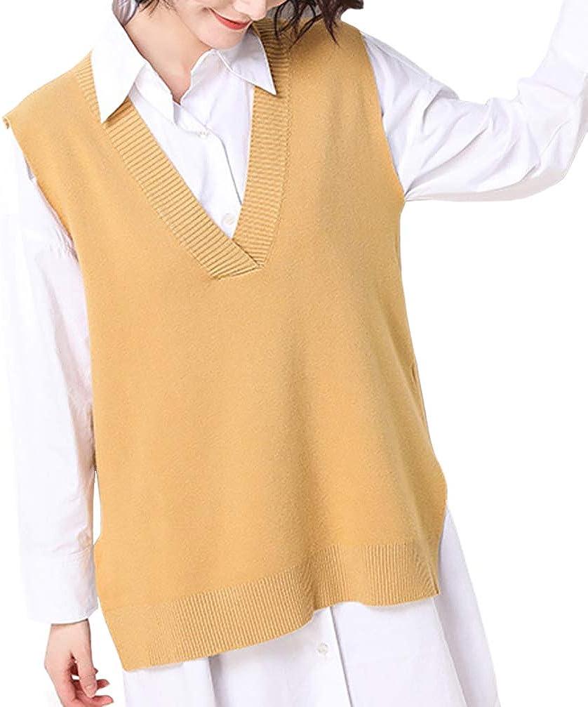 Women Loose V Neckline Side Slit Pullover Knitted Vest Sweater (M, Ginger)