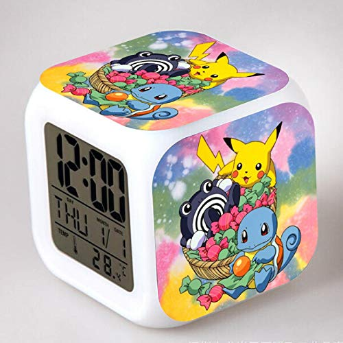 Pokemon Despertador para Niñas,Reloj Despertador Digital con 7 Colores Luz de Noche para Infantil,Hora Alarma Temperatura Fecha de Visualización A3