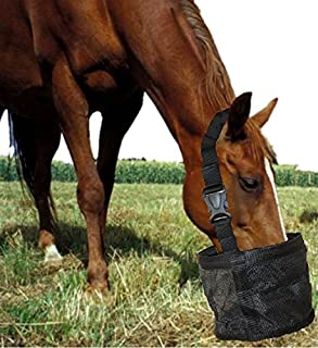 Feed Bag for Horses, Heavy Duty Durable Canvas Grain Feedbag, Small Medium or Large