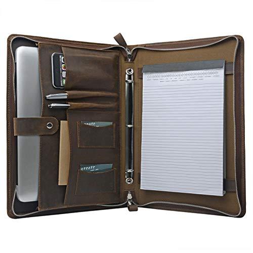 iCarryAlls Leather Organizer Laptop Portfolio with 3-Ring Binder for 15 inch MacBook Pro, Legal Size 8.5 x 14 Pad (150384PJJ-15-Brown)