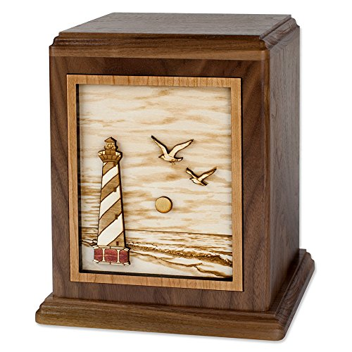 Wooden Companion Urn - Cape Hatteras Lighthouse 3-Dimensional Inlay Wood Art Memorial Made in The USA - Double Funeral Urns for Two Adults (Companion Urn for Two (400 Cubic inches), Walnut)
