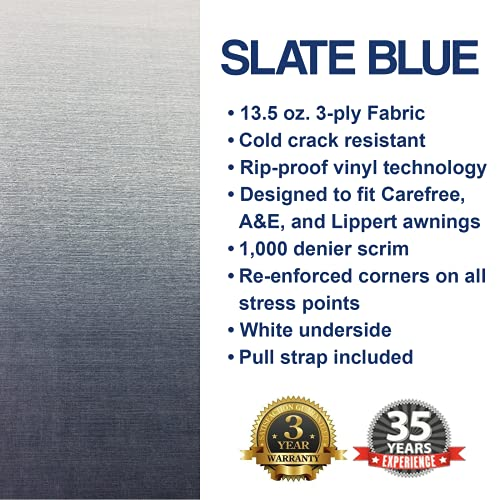 Shade Pro - RV Awning Fabric Replacement - Premium Grade Weatherproof Vinyl - Universal Outdoor Canopy for Camper, Trailer, and Motorhome Awnings - Slate Blue Fade - 16' (Fabric 15' 2')