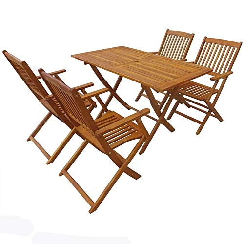 XWL Solid Acacia Wood Outdoor Dining Set 5 Piece Garden Folding Table Chair