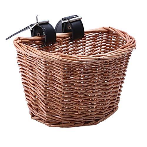 Cesta de mimbre para bicicletas Cesta de bicicleta tradicional frente de la bicicleta Cesta con las correas de cuero natural hecho a mano rota la cesta del almacenaje de la bici para la Mujer