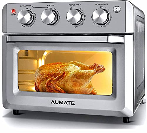 AUMATE Air Fryer Oven,Air Fryer Toaster Oven Combo,7-in-1 Large Convection Roaster Oven,Countertop Oven,1550W Oilless Knob Control Electric Oven,4 Accessories,19 QT,Silver