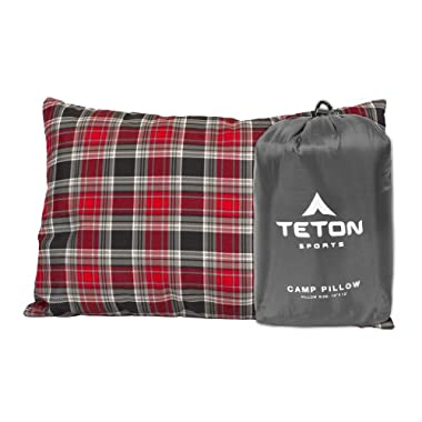 Teton Sports Camp Pillow Perfect for Anytime You Travel; Camping, Backpacking, Airplanes, and Road Trips; Comfortable Pillow for Neck and Lumbar Support; You Can Take It Anywhere; Washable; Grey