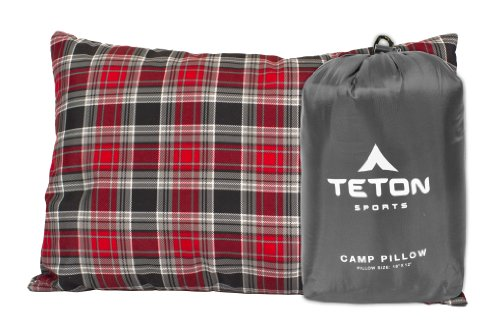 TETON Sports Camp Pillow; Perfect Anytime You Travel; Camping, Backpacking, Airplanes, and Road Trips; You Can Take It Anywhere and it's Washable; Grey