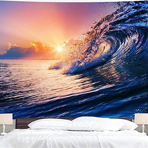 WERT Ocean Sunrise Sunset Tapiz Colgante de Pared, Dormitorio Dormitorio decoración de la Pared Familiar Tapiz Tela de Fondo A4 180x200cm