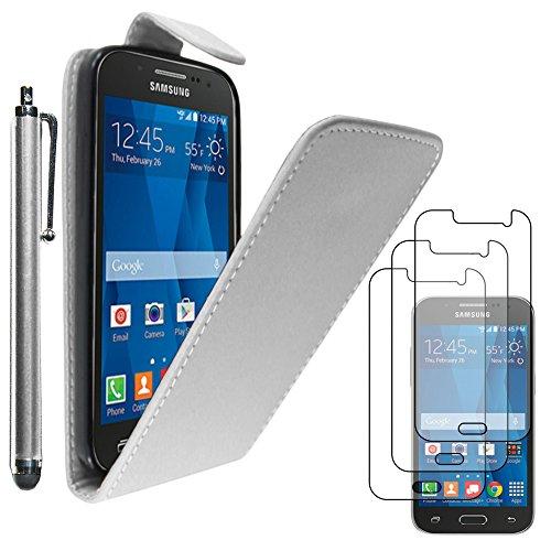 ebestStar - Funda Compatible con Samsung Galaxy Core Prime SM-G360F, 4G SM-G361F VE Carcasa Abatible PU Cuero, Ultra Slim Case Cover + Lápiz +3 Peliculas, Blanco [Aparato: 130.8x67.9x8.8mm, 4.5'']