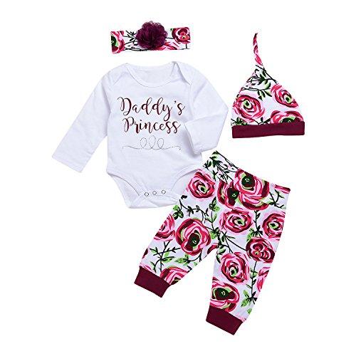chicolife Baby Mädchen 4PCS Outfits kleine Schwester Bodysuit Tops Floral Hosen Bowknot Stirnband Set,0-6Month