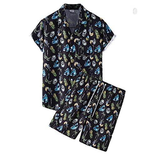Qienjn Shirt Uomo Set Casual Traspirante da Uomo A Maniche Corte E Pantaloni Corti Set da 2 Pezzi Estate Surf Nuoto Camicia da Spiaggia da Uomo Vacanza Camicia Hawaii J-TZ60 XL