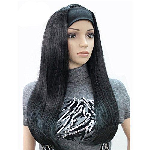 Aimole Long Straight 3/4 Womens Wigs Hair Piece Synthetic Hair with Black Headband(1-Black)