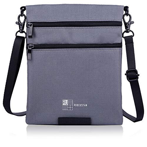 RUBEUSTAN [Amazon限定ブランド] パスポートケース カバー 首下げ スキミング防止 セキュリティ ポーチ ショルダー (ブラック&グレー)
