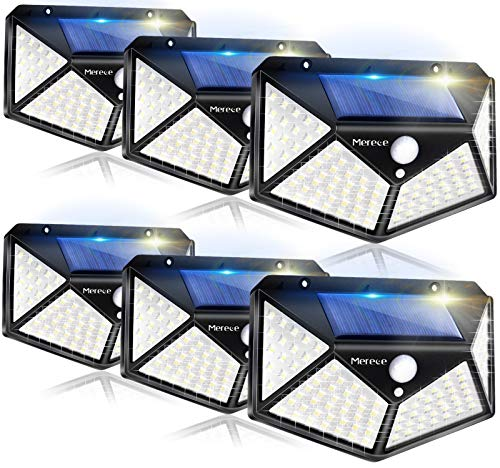 Solar Lights Outdoor 100LED with 270° Wide Angle, 3 Lighting Modes Wireless Motion Sensor Security Lights, IP65 Waterproof Solar Powered Wall Lights, for Backyard Garden Fence Patio Front Door-6 Pack