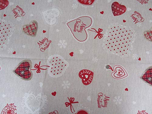 Mantel redondo antimanchas, diseño de corazones de Navidad, 100 % impermeable, medida x 180 cm de diámetro.