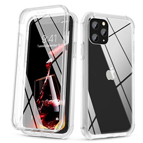 SURITCH für iPhone 11 Pro Hülle Transparente, [Eingebauter Glasschirmschutz] Kratzfeste, stoßfeste Ganzkörperschutzhülle aus Kunststoff & hybride weiche Stoßstange für iPhone 11 Pro 5,8