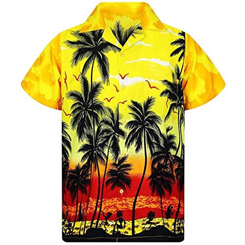 baohooya Camicie Casual da Uomo Camicia Hawaiana Funky Camicia Motivo Estivo con di Palme Aloha A Maniche Corte Stampata in 3D con Stampa T-Shirt Top (XL, Giallo)