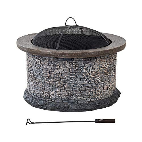 Sunjoy Bianca Stone 32 in. Round Wood Burning Firepit, Brown and Gray