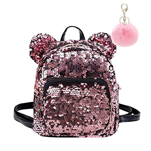 Puyang Women Mini Sequins Mouse Ear Travel Party Backpack with Pompom Keyring (Pink)