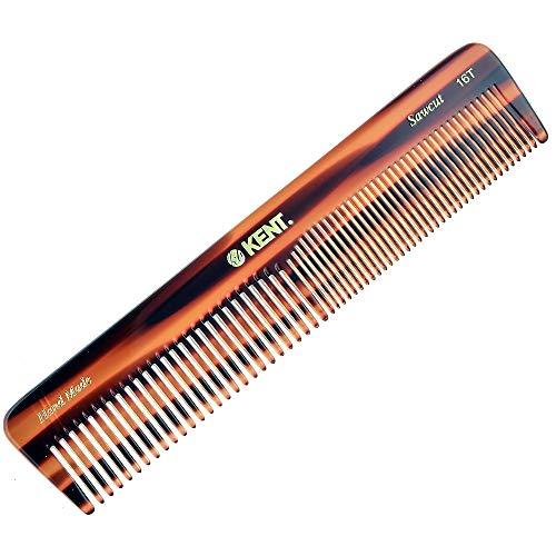 Kent 16T Double Tooth Hair Dressing Table Comb, Fine and Wide Tooth Dresser Comb For Hair, Beard and Mustache, Coarse and Fine Hair Styling Grooming Comb for Men, Women and Kids. Made in England