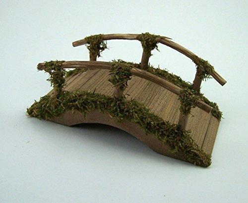 Brücke aus Holz für die Weihnachtskrippe, braun gebeizt. Krippenzubehör. 15 cm.