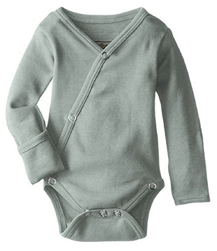 L'ovedbaby Unisex-Baby Organic Cotton Kimono Long Sleeve Bodysuit, Seafoam, 0/3...