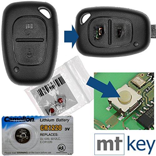 Repair reparatieset behuizing radiosleutel afstandsbediening autosleutel behuizing 1x behuizing 2 toetsen + 2x microknop + 1x CR1220 batterij compatibel met Renault/Opel/Nissan
