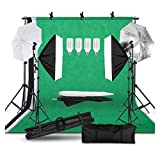 WODEJIA Kit De Disparo con Foto con Sistema De Soporte De Fondo Y Sombrilla Softbox Kit De Iluminación Foto Video Estudio Difusor Flash
