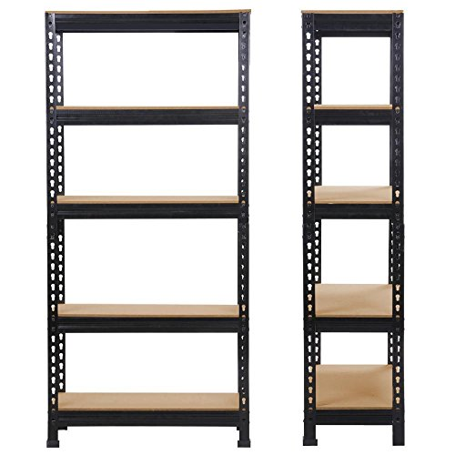 Yaheetech 2PCS Heavy Duty 5 Tier Garage Shelving Units Metal Storage Shelves Shed Utility Rack,180cm x 90cm x 30cm,175KG Per Shelf,Black