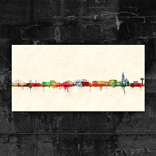 Kunstbruder Leverkusen Skyline - Farbe (div. Grössen) 3D 4cm - Kunstbild Druck auf Leinwand 40x80cm