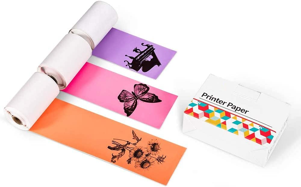 Memoking M02 Thermal Printer Stickers - Compatible with Phomemo M02/M02S/M02PRO/M03 Printer - Purple/Rose Red/Orange Thermal Labels, 50mm x 3.5m / 1.96in x 11.48ft, 3 Rolls