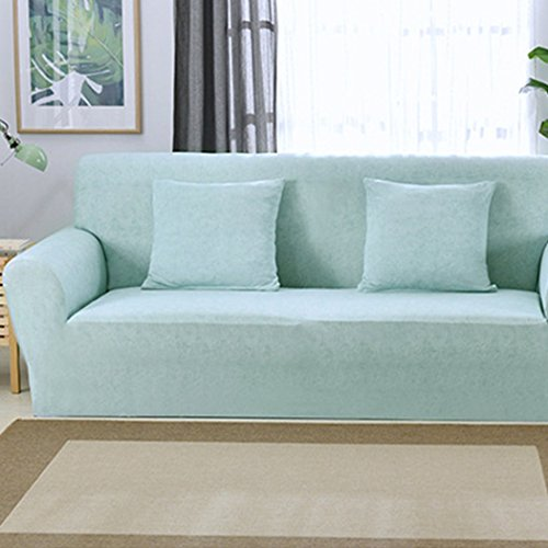 Raylans Extensible Seat Chair Covers Couch Slipcover Sofa Loveseat Cover 15 Colors/4 for 1 2 3 4 Four People Sofa Water Blue