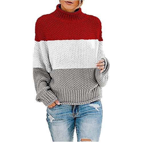 N\P Damen-Strickpullover, farblich passender Rundhalsausschnitt, lockerer Pullover, Tops, Damen Strickpullover Gr. Large, wein