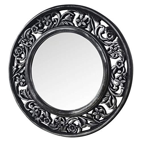 Home and Mas wandspiegel, rond, zilverkleurig, antieke afwerking spiegel voor slaapkamer, woonkamer, bloemendesign, diameter 51 cm