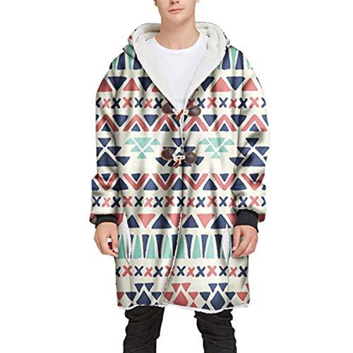 SHYPT Erwachsene mit Kapuze Decke Pullover Pullover Warm Plüsch Pocket TV Plüsch Mantel Druckhülsen Mit Kapuze Decke (Color : D, Size : Small)